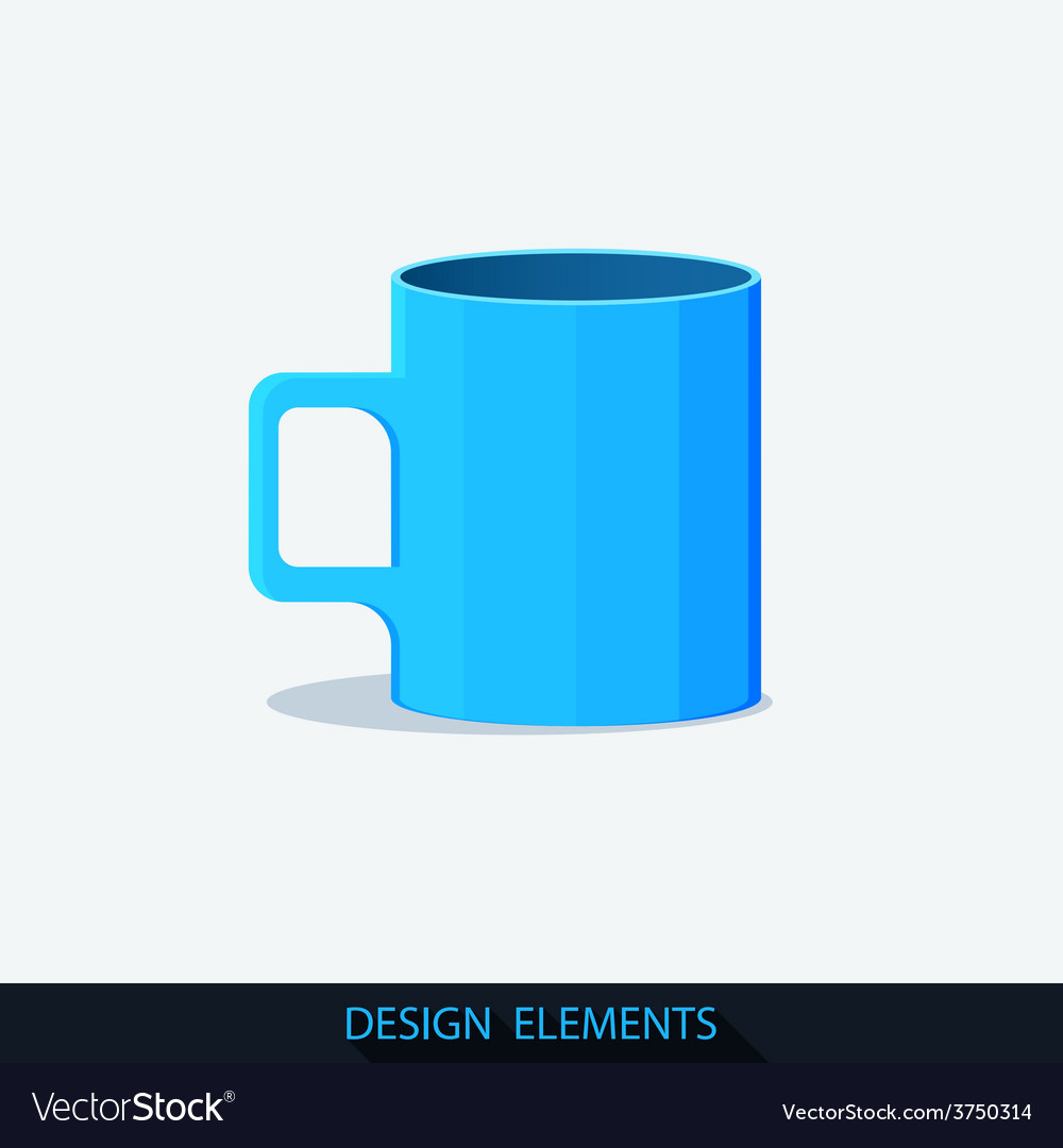 Blue cup in the flat style vector | Price: 1 Credit (USD $1)