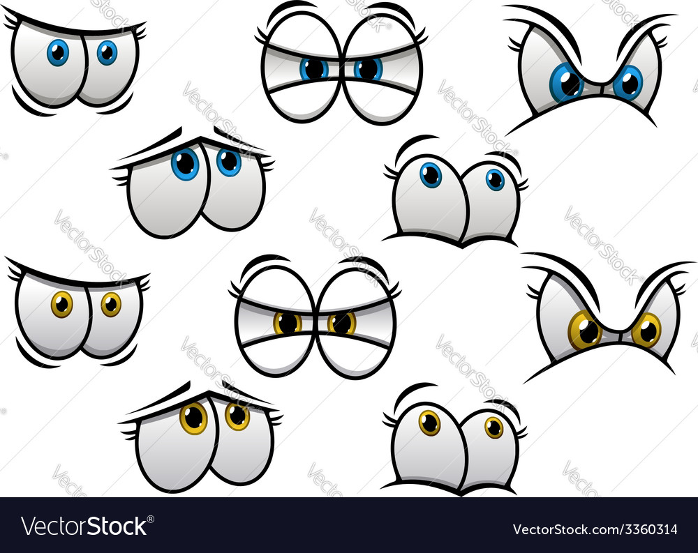 Cartoon eyes with different emotions vector | Price: 1 Credit (USD $1)