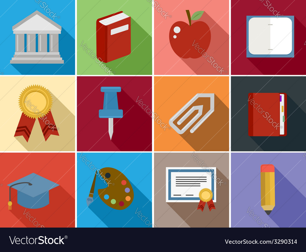 Education flat icons set design vector | Price: 1 Credit (USD $1)