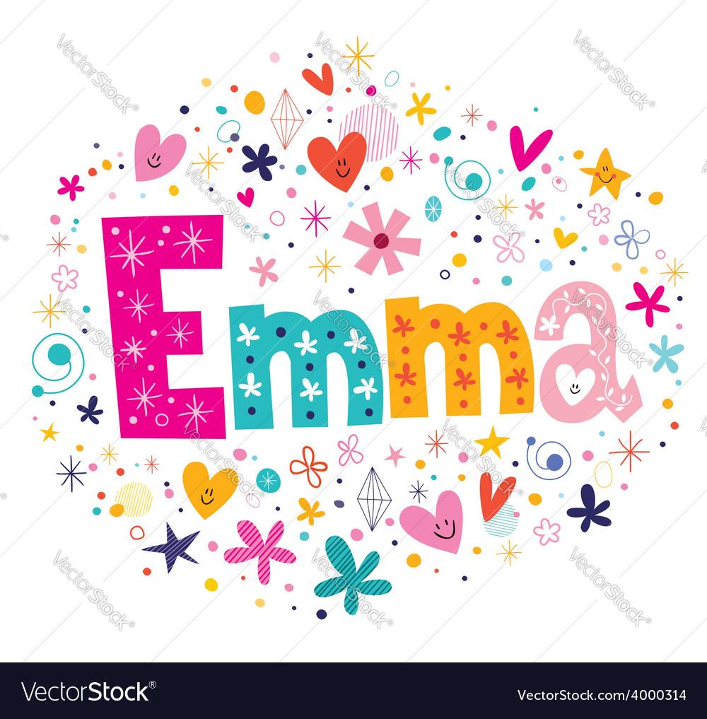 Emma female name decorative lettering type design vector | Price: 1 Credit (USD $1)