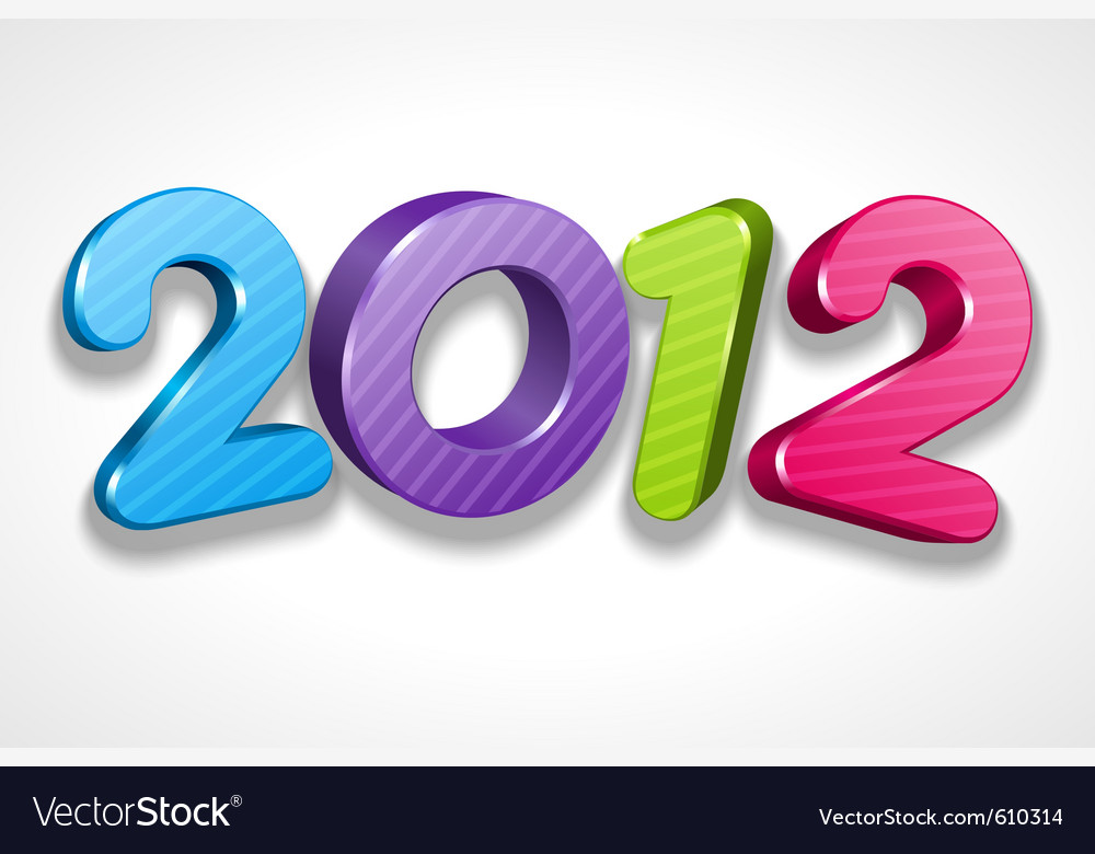 Happy new year 2012 3d message sign vector | Price: 1 Credit (USD $1)