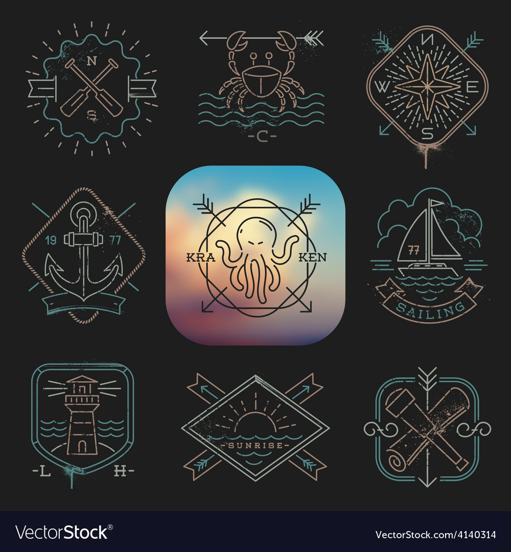 Line drawing nautical and adventures emblems vector | Price: 1 Credit (USD $1)