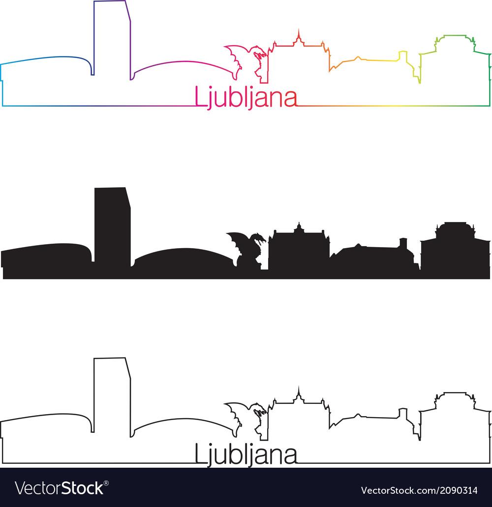 Ljubljana skyline linear style with rainbow vector | Price: 1 Credit (USD $1)