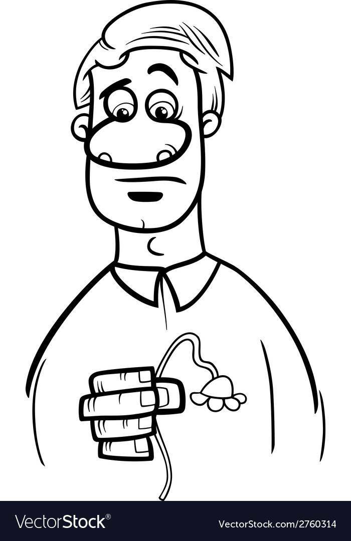 Sad man cartoon coloring page vector   Price: 1 Credit (USD $1)