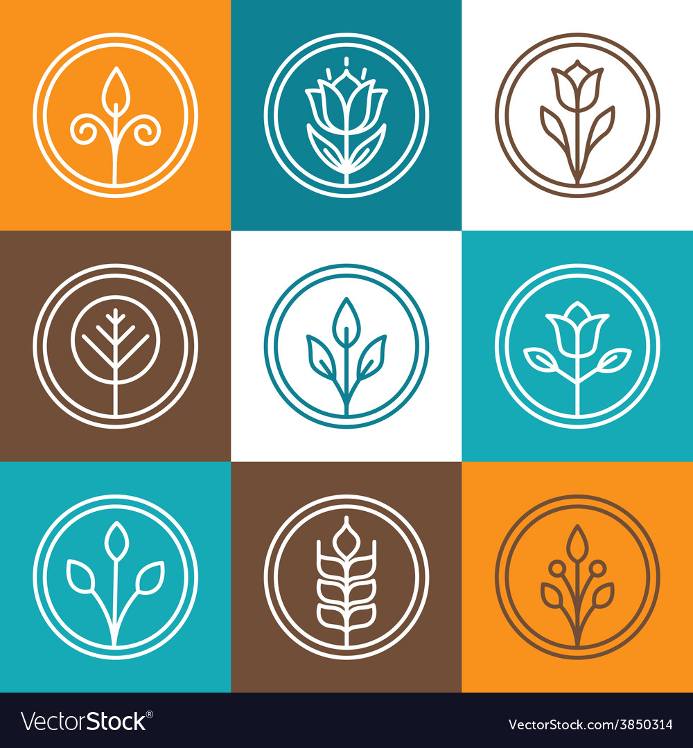Set of nature badges vector
