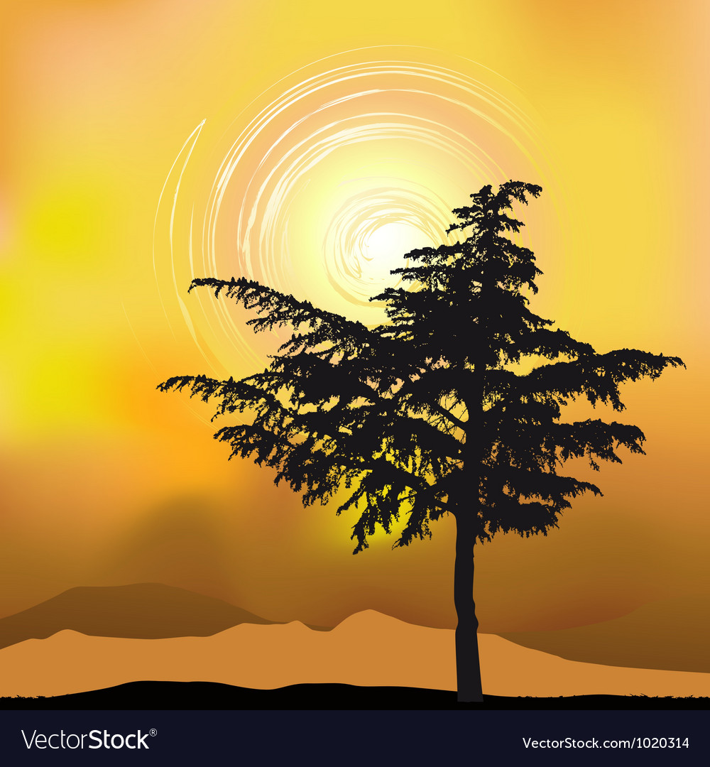Tree silhouette on an abstract background vector | Price: 1 Credit (USD $1)