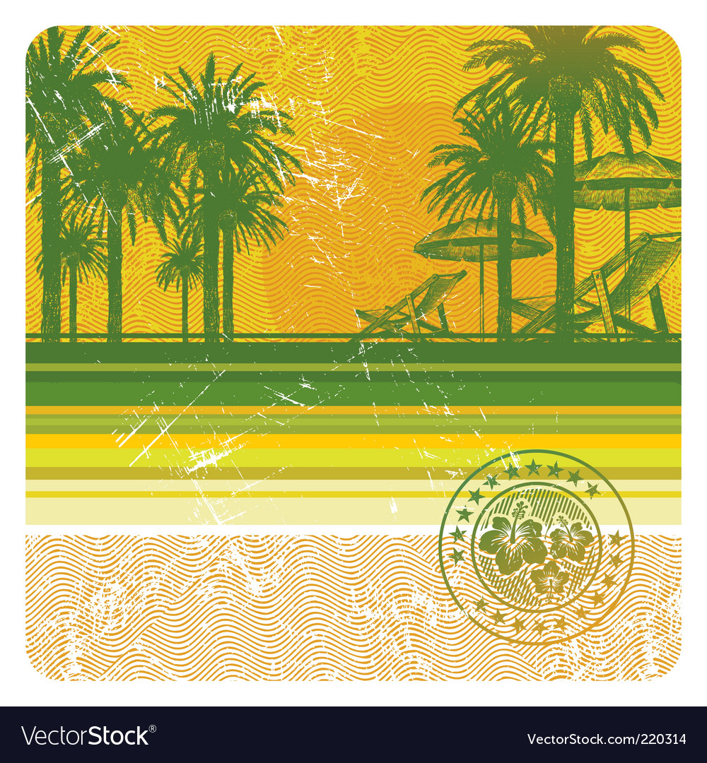 Tropical beach with palms vector | Price: 1 Credit (USD $1)