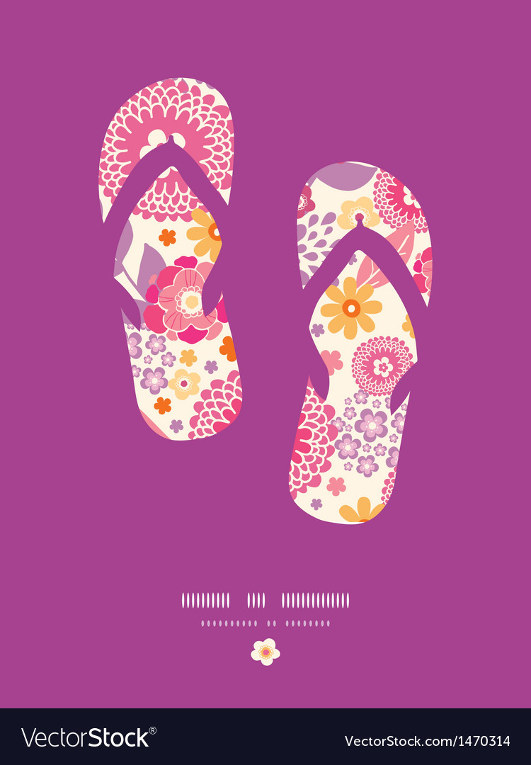 Warm summer plants flip flops pattern background vector | Price: 1 Credit (USD $1)