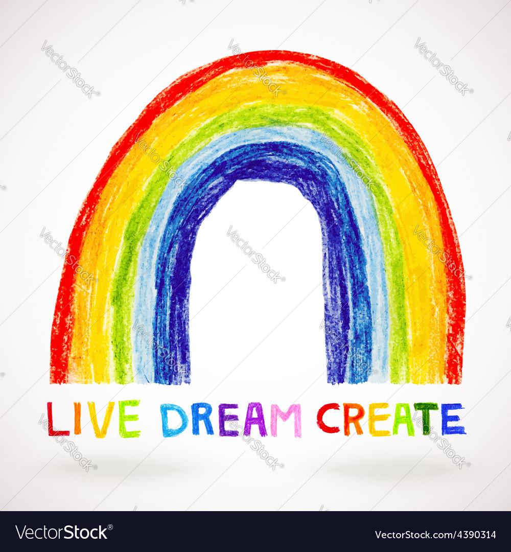Watercolor rainbow hand drawn with color pencils vector | Price: 1 Credit (USD $1)