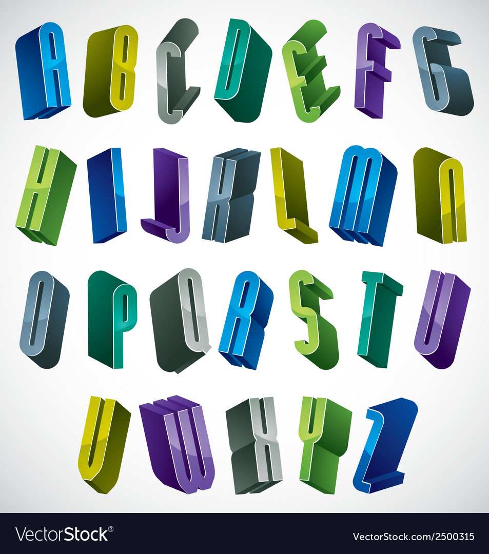 3d colorful letters alphabet vector | Price: 1 Credit (USD $1)