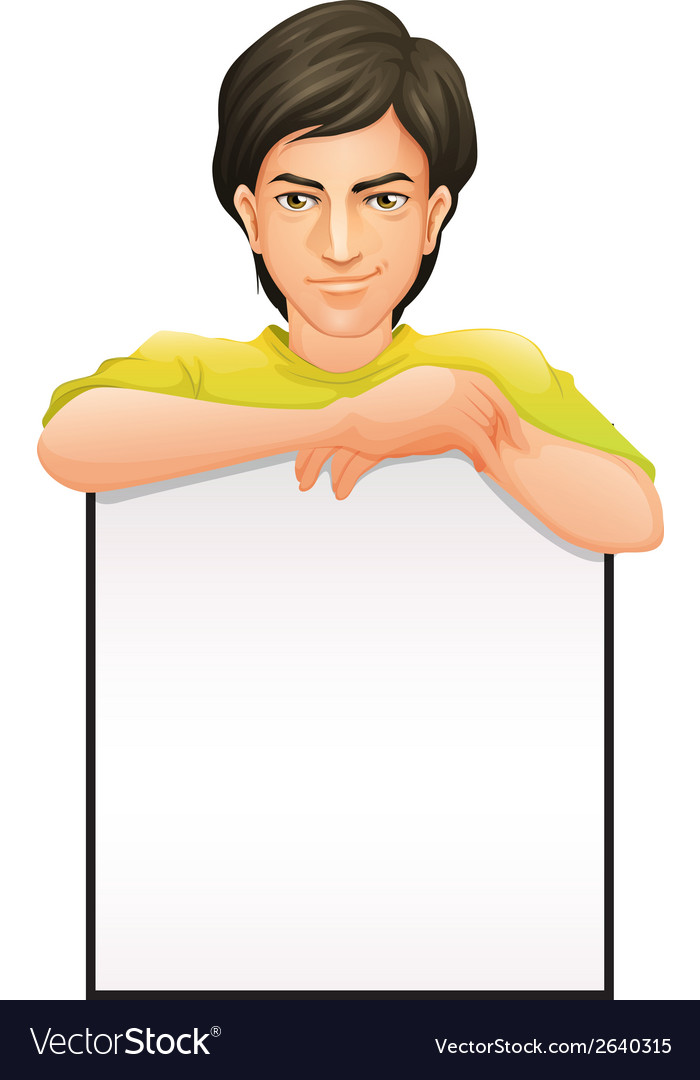 A handsome man with an empty signboard vector   Price: 1 Credit (USD $1)