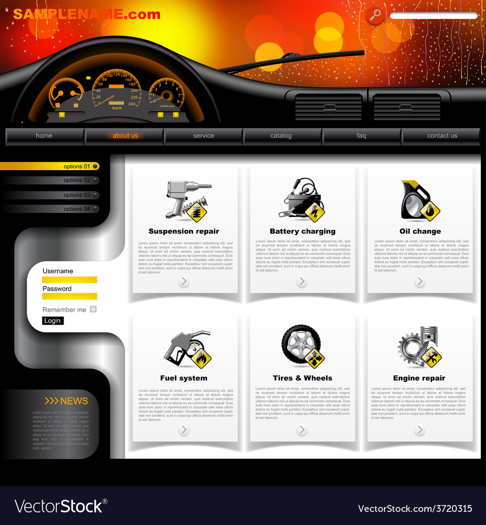 Automobile service website template vector | Price: 1 Credit (USD $1)