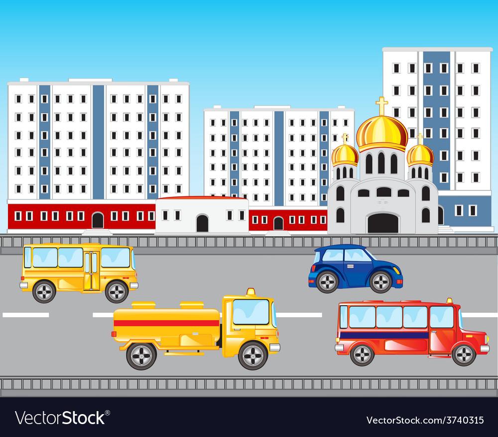 Car road in city vector | Price: 1 Credit (USD $1)