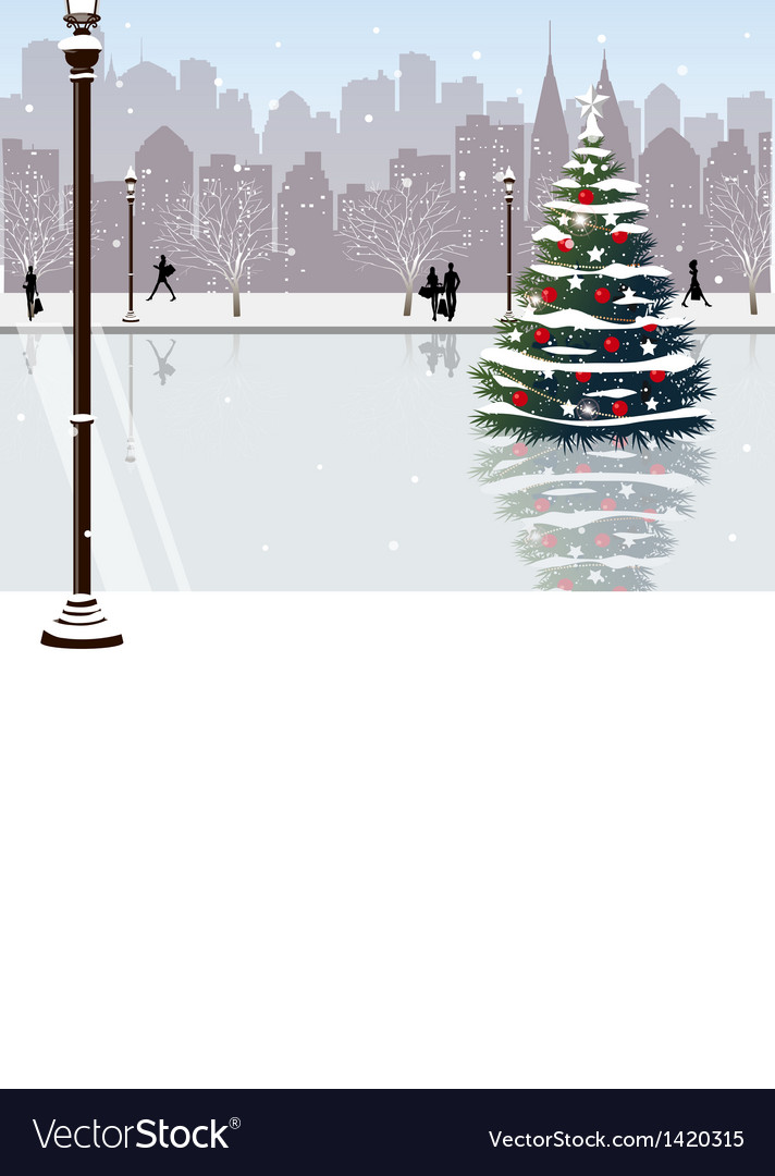 Christmas park city view vector | Price: 1 Credit (USD $1)