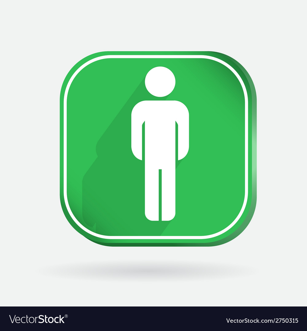 Color icon with shadow silhouette of a man vector | Price: 1 Credit (USD $1)