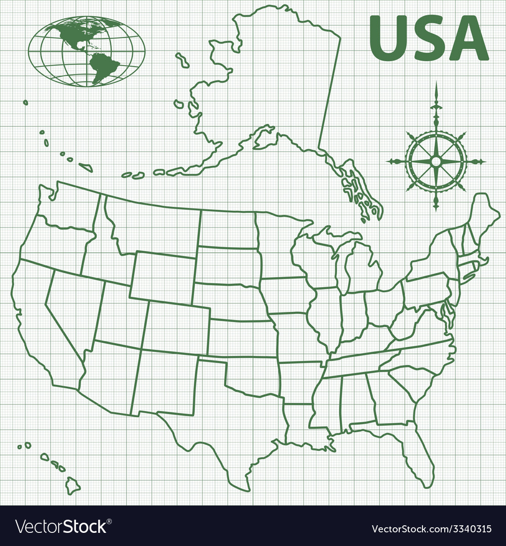 Contour map of usa vector | Price: 1 Credit (USD $1)