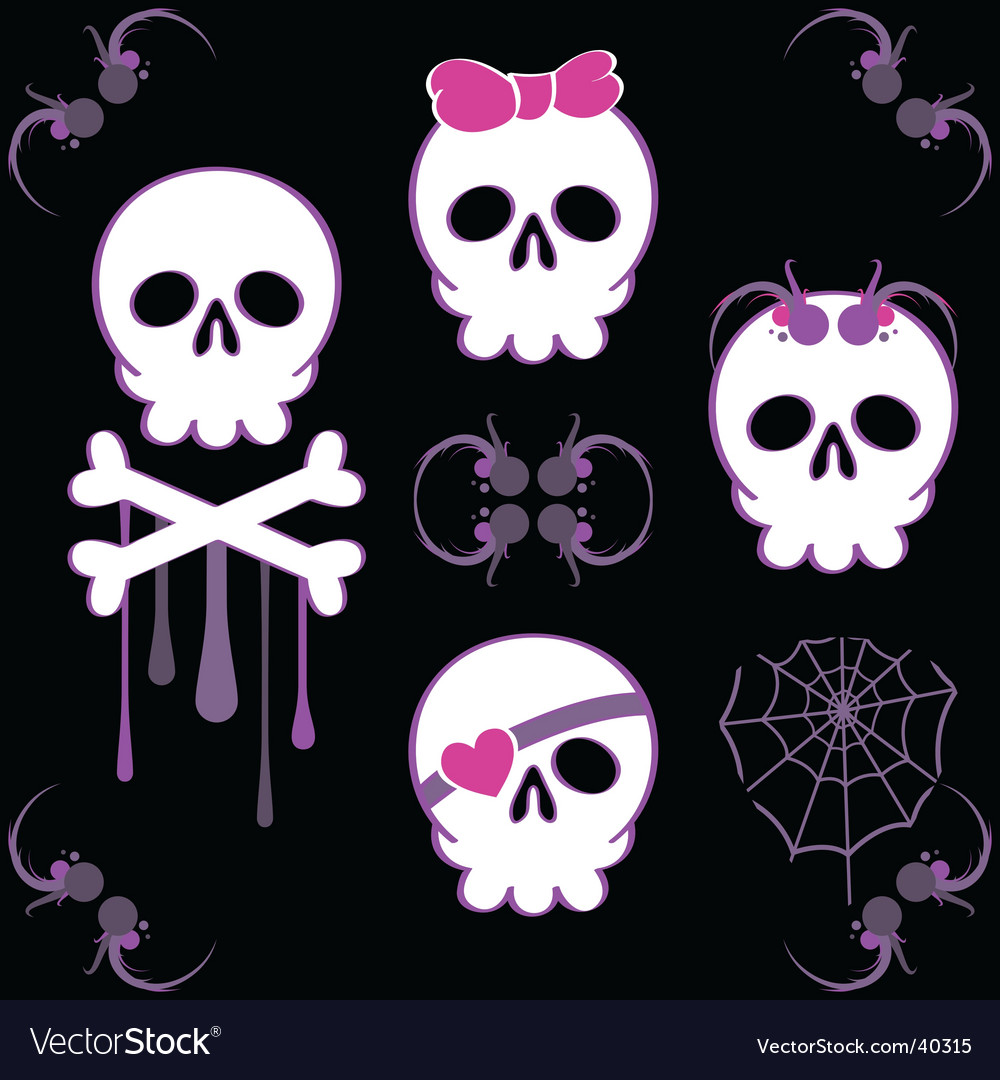 Emo skulls vector | Price: 1 Credit (USD $1)