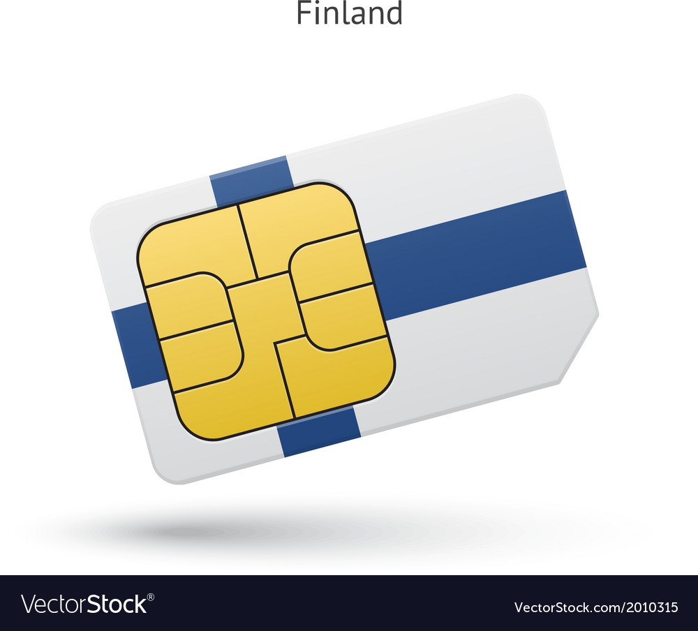 Finland mobile phone sim card with flag vector | Price: 1 Credit (USD $1)