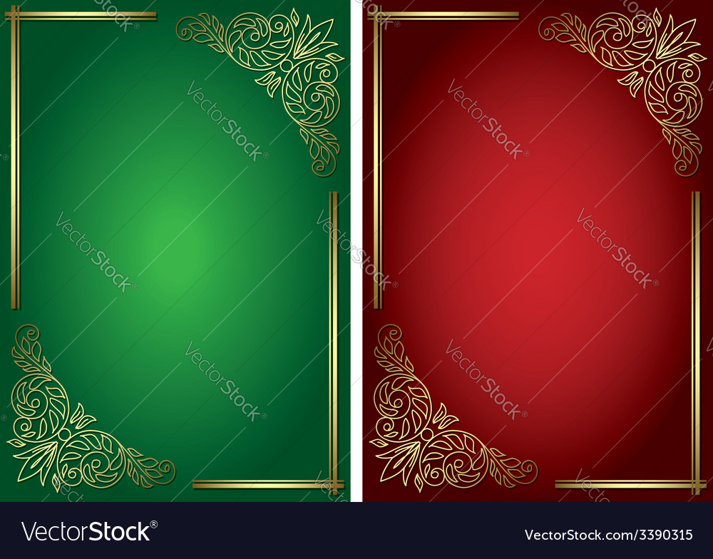 Green and red backgrounds with golden decor vector | Price: 1 Credit (USD $1)