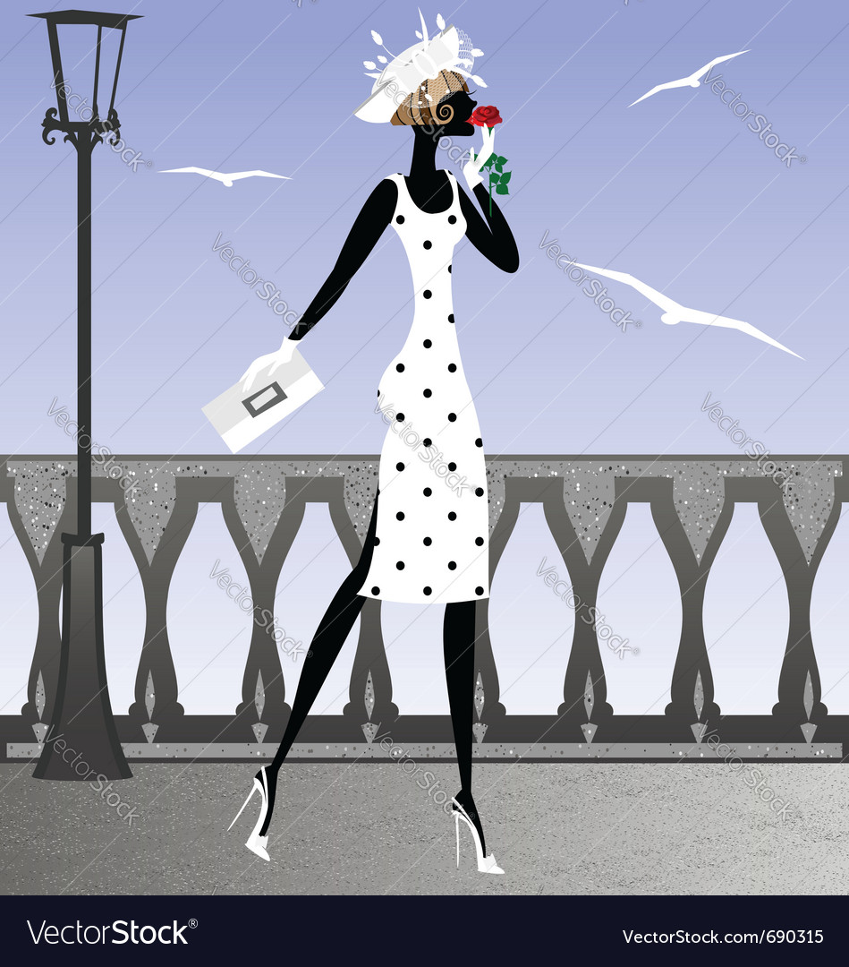 Lady and seagulls vector | Price: 1 Credit (USD $1)