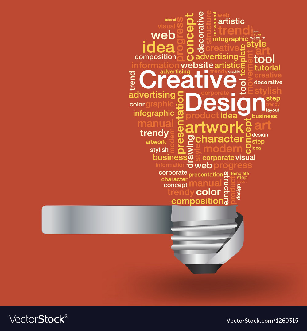 Light bulb with creative design concept word cloud vector | Price: 1 Credit (USD $1)