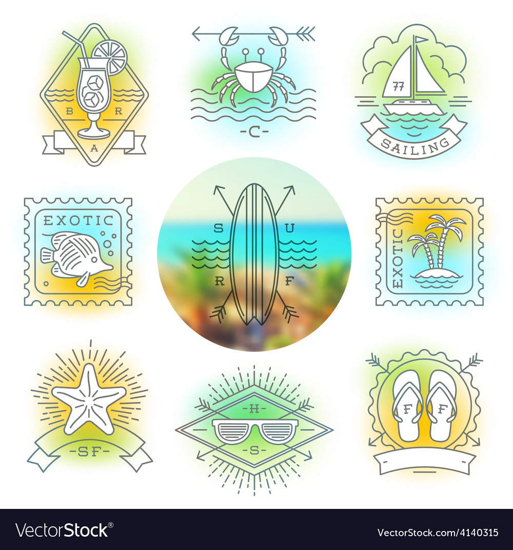 Line drawing summer holidays and travel emblems vector | Price: 1 Credit (USD $1)