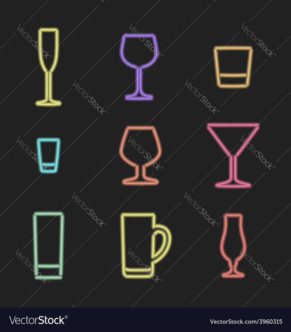 Neon light alcohol glasses icons vector | Price: 1 Credit (USD $1)