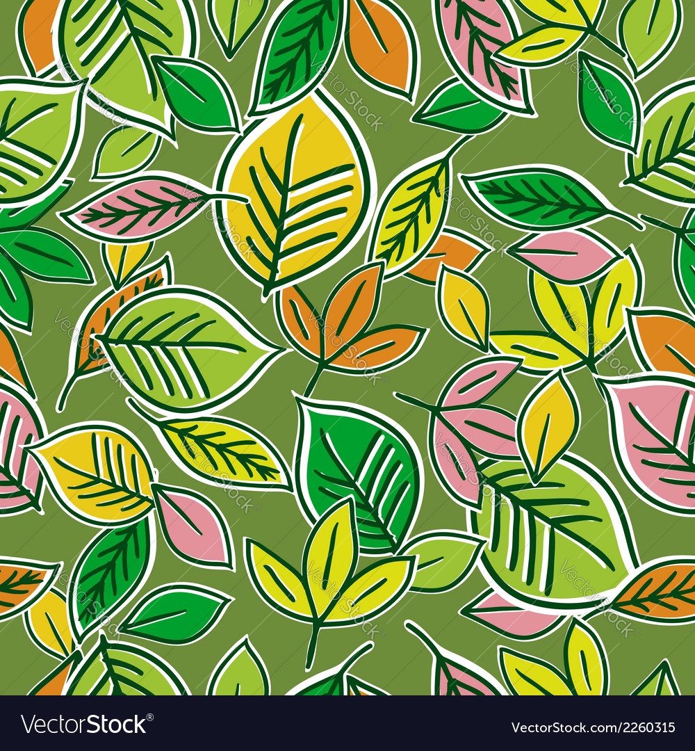 Pattern of hand draw leafs vector | Price: 1 Credit (USD $1)