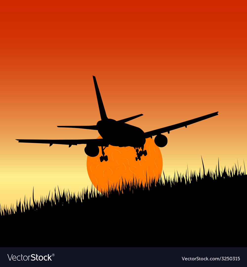 Plane and sunset art vector | Price: 1 Credit (USD $1)