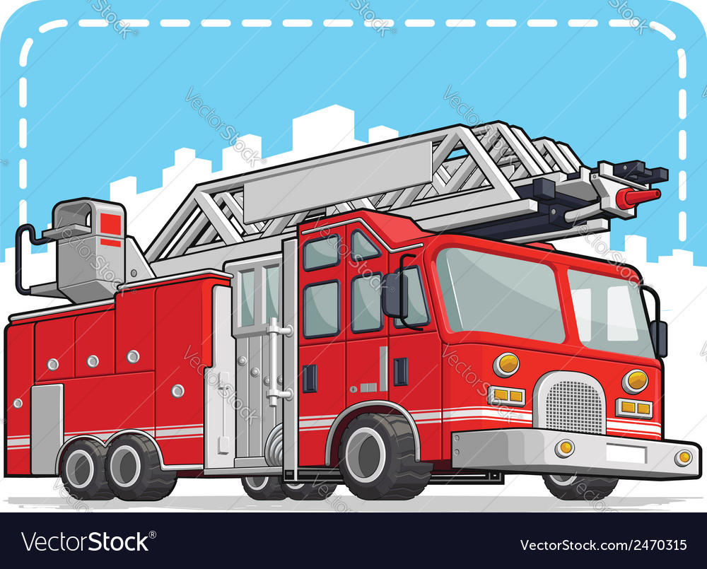 Red fire truck or fire engine vector | Price: 1 Credit (USD $1)
