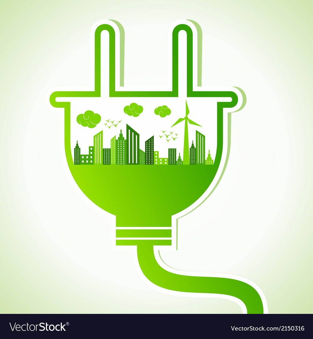 Ecology concept with electric plug vector | Price: 1 Credit (USD $1)