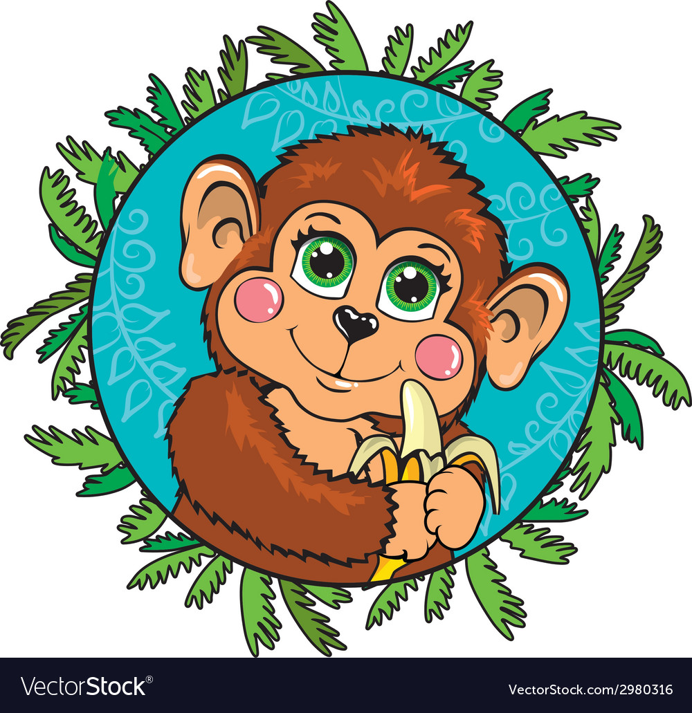 Funny monkey with a banana in her hand in the vector | Price: 1 Credit (USD $1)