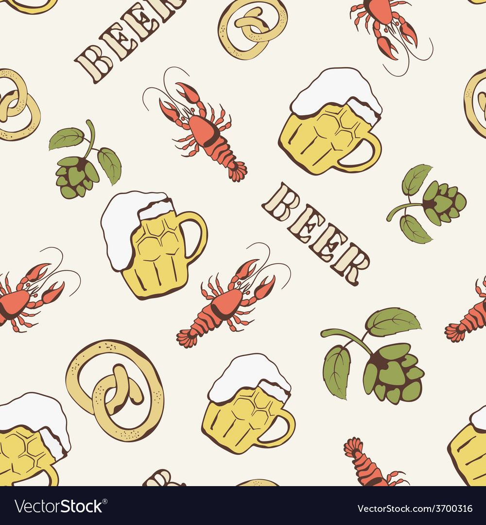 Glass of beer hop and crayfish seamless pattern vector | Price: 1 Credit (USD $1)