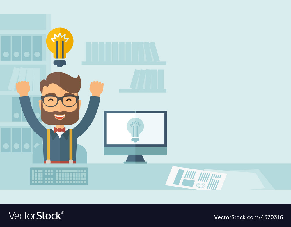 Happy young man at his computer vector | Price: 1 Credit (USD $1)