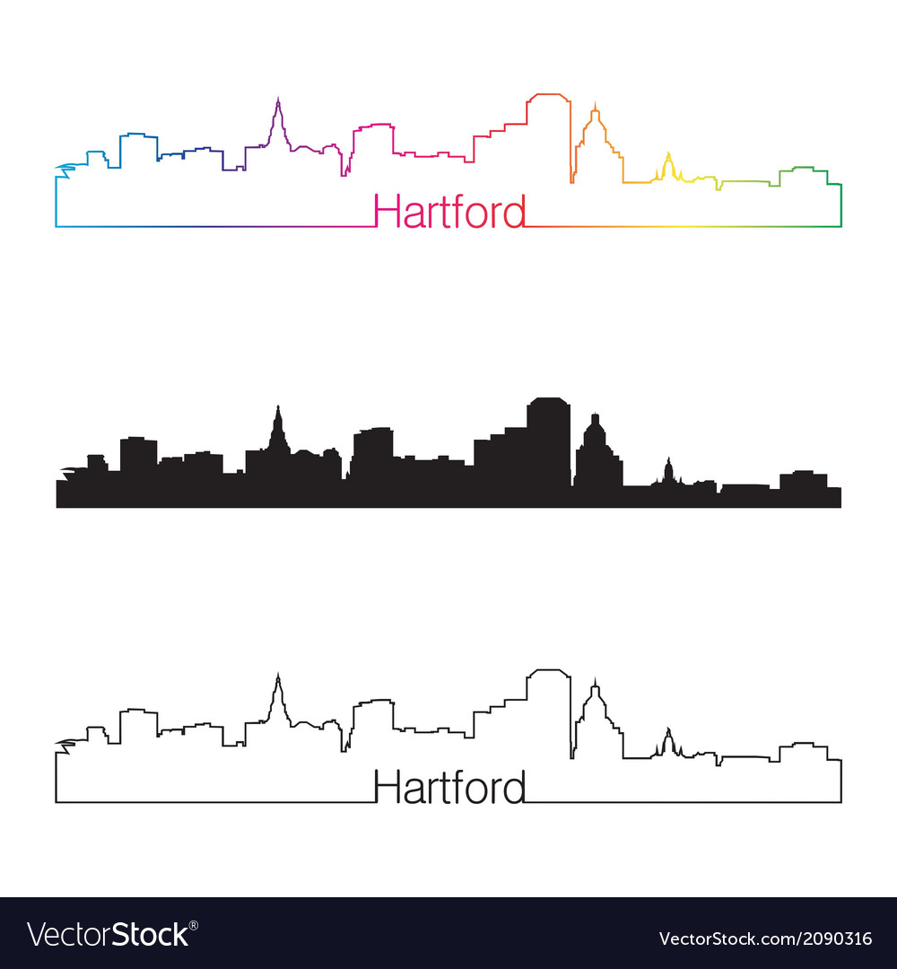 Hartford skyline linear style with rainbow vector | Price: 1 Credit (USD $1)