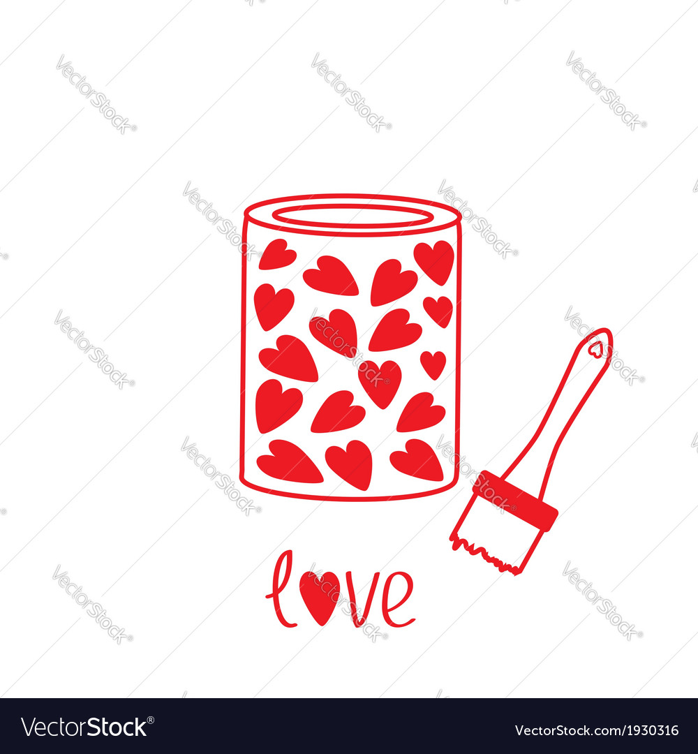 Love paint with hearts inside card vector | Price: 1 Credit (USD $1)