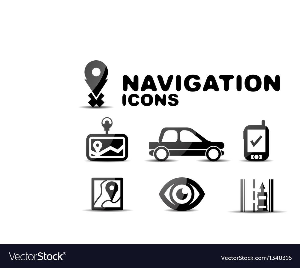 Navigation glossy black icon set vector | Price: 1 Credit (USD $1)
