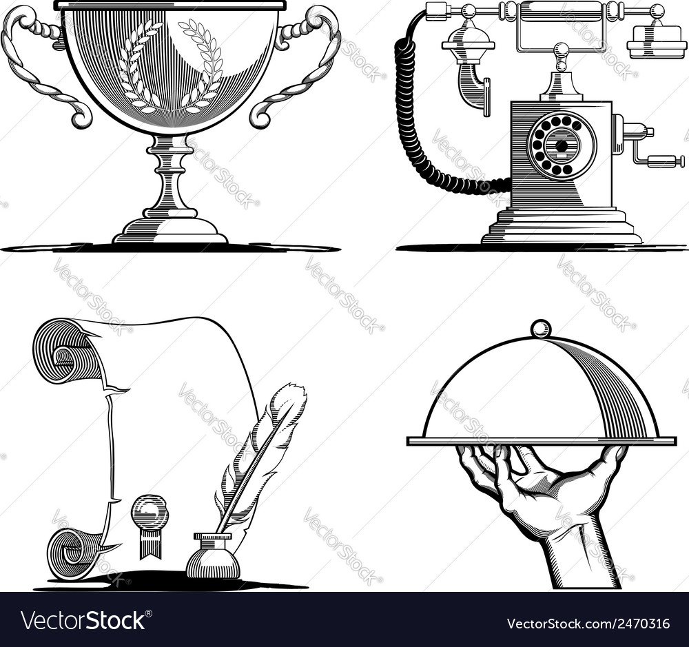 Retro icons old script telephone tray trophy vector | Price: 1 Credit (USD $1)