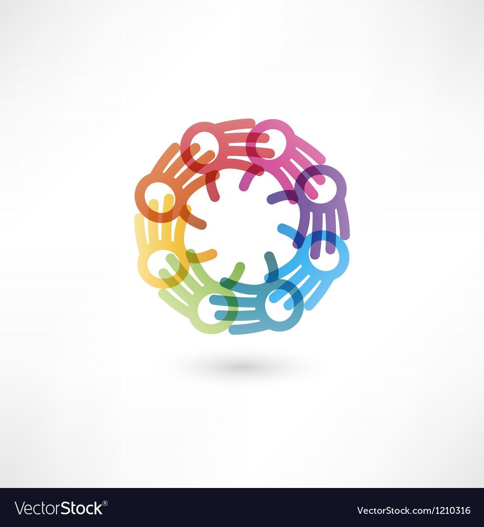 Team symbol multicolored hands vector | Price: 1 Credit (USD $1)