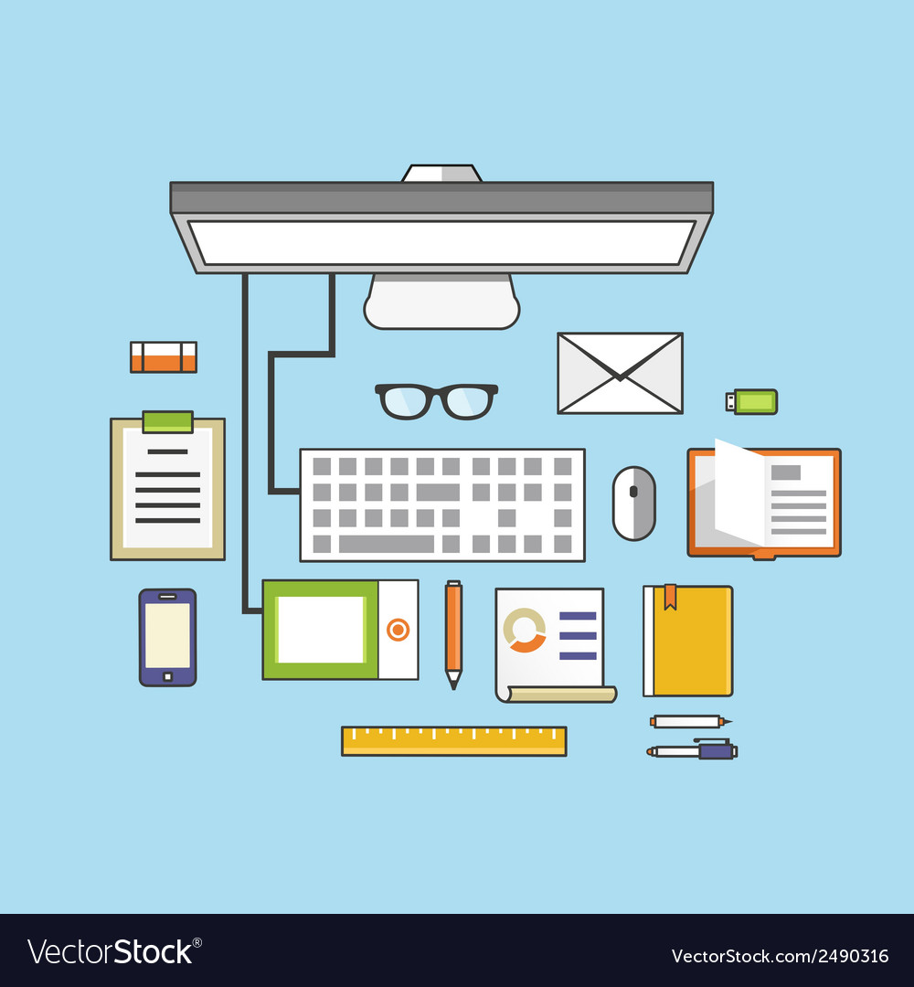Workplace with mobile devices and documents vector | Price: 1 Credit (USD $1)