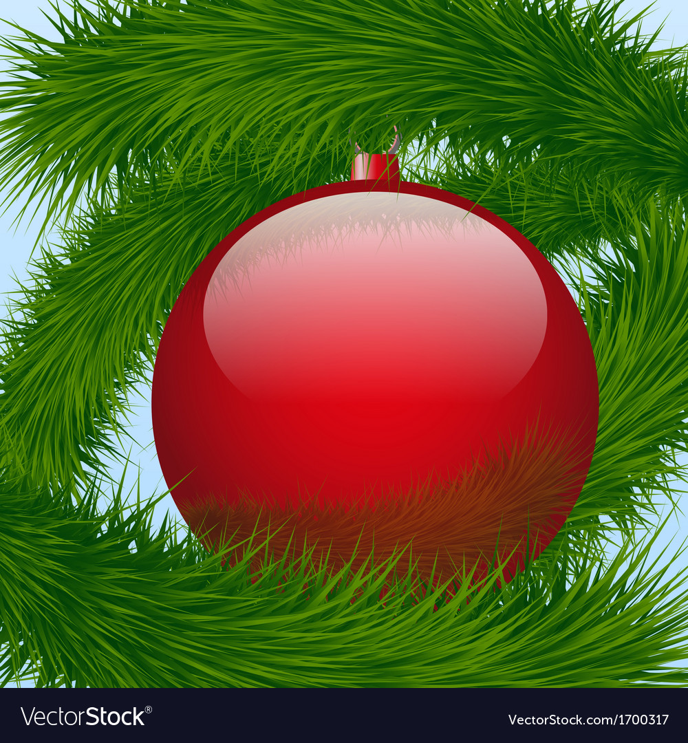 Background christmas ball and spruce tree vector | Price: 1 Credit (USD $1)