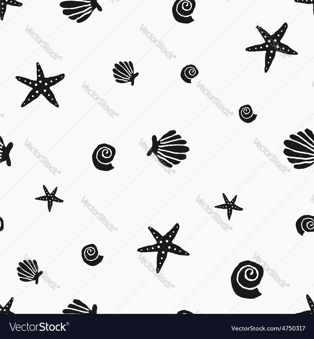 Black and white seashells vintage seamless pattern vector | Price: 1 Credit (USD $1)