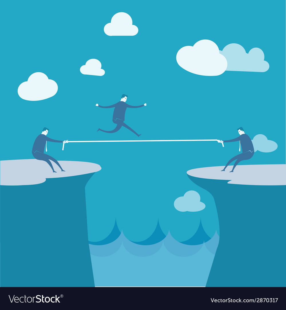 Businessmen pulling together on a cliff vector | Price: 1 Credit (USD $1)