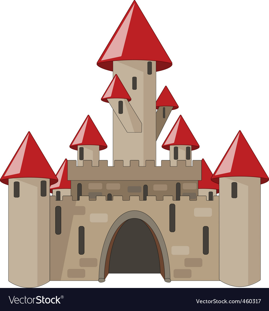 Cartoon castle isolated on white vector | Price: 1 Credit (USD $1)