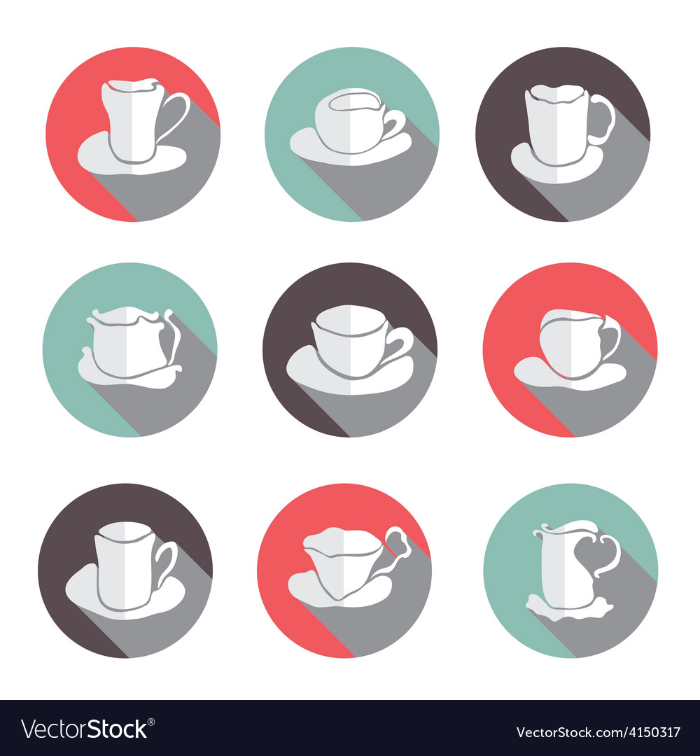 Coffe cups icons set vector | Price: 1 Credit (USD $1)