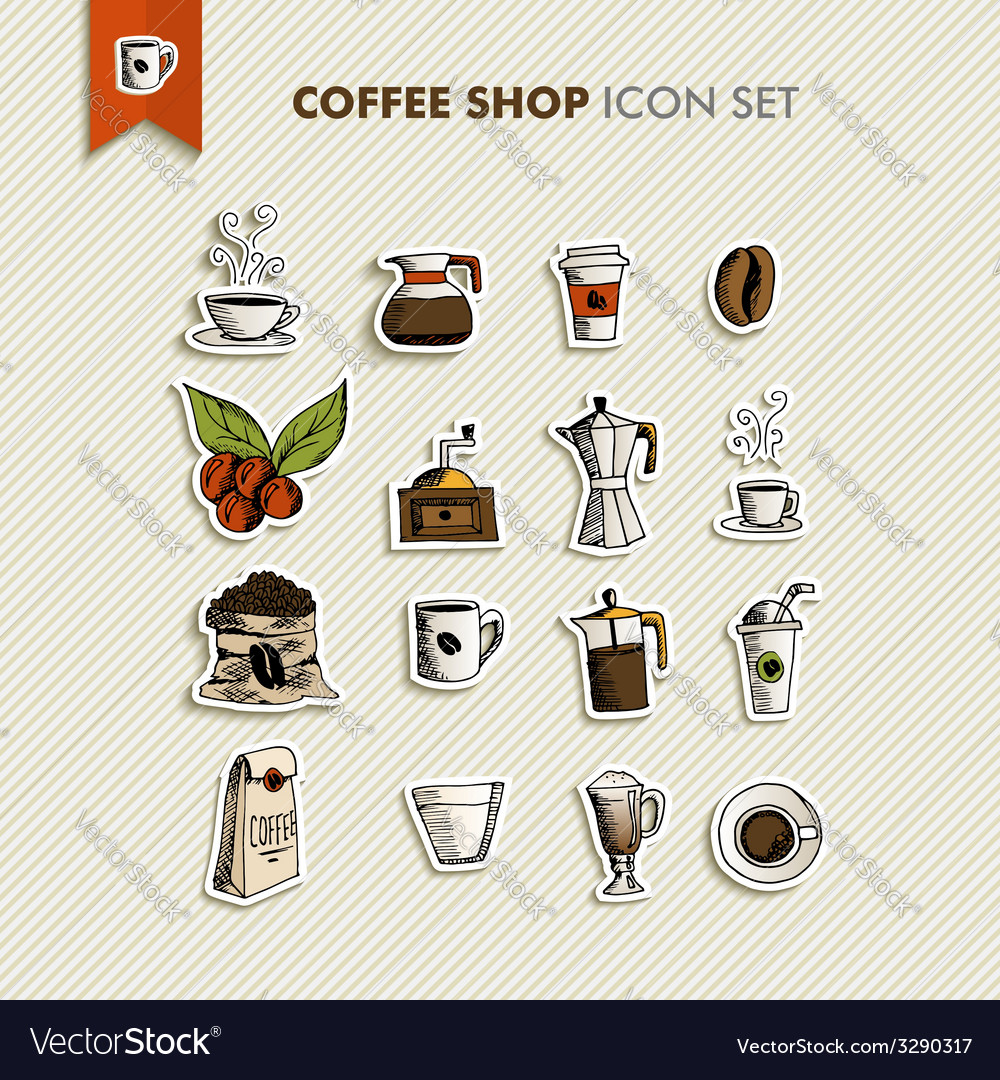 Coffee shop icons set vector | Price: 1 Credit (USD $1)