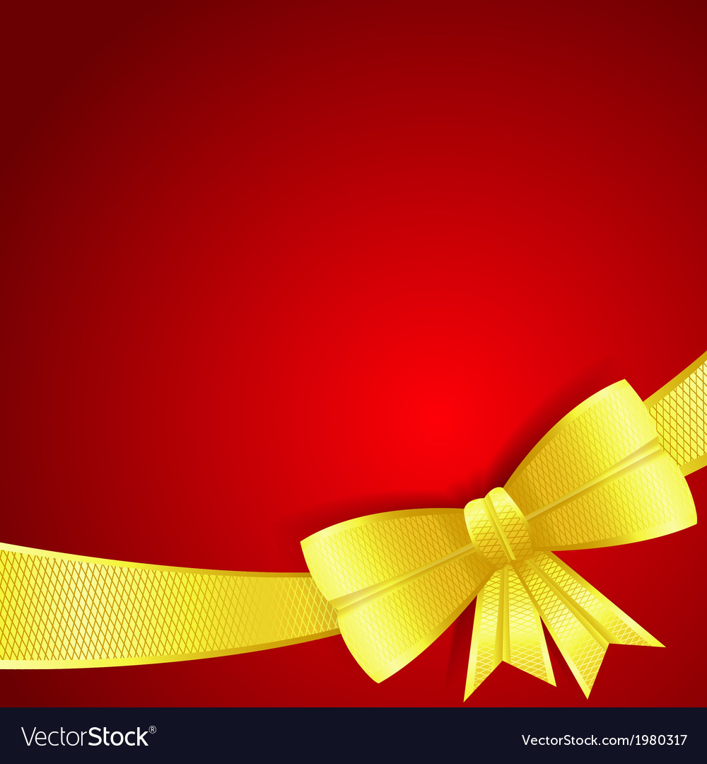 Greeting card with gold silk bow vector | Price: 1 Credit (USD $1)