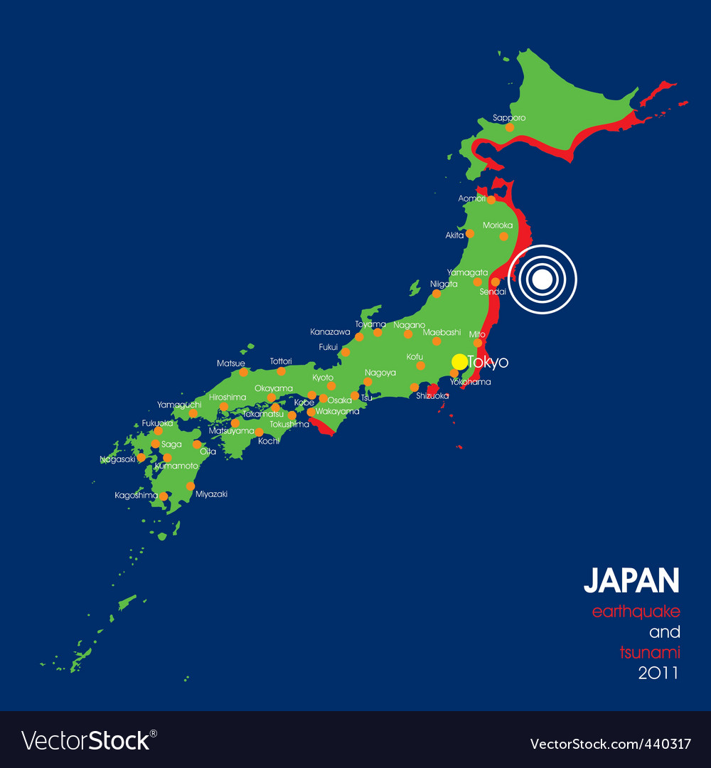 Japan earthquake map vector | Price: 1 Credit (USD $1)