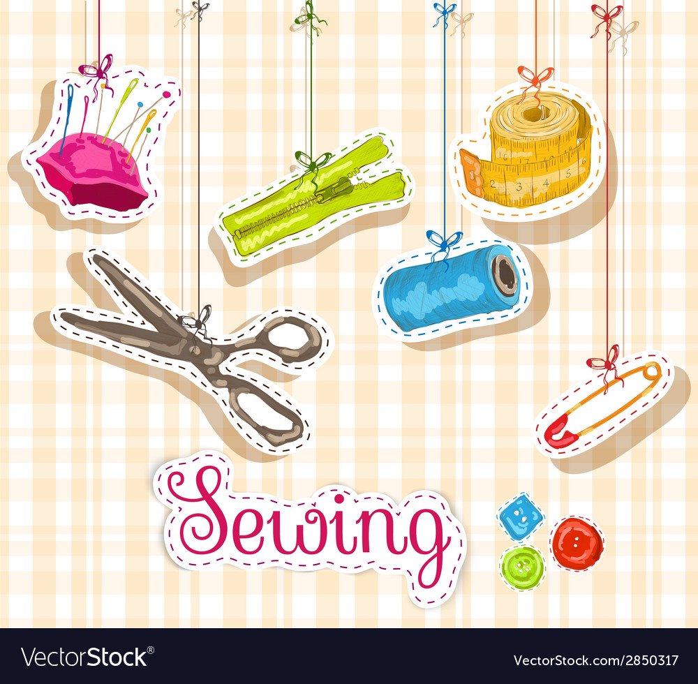 Sewing sketch composition vector | Price: 1 Credit (USD $1)
