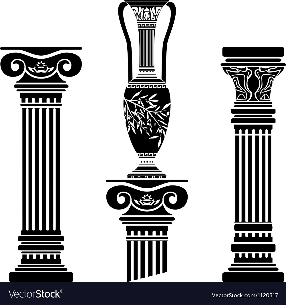 Stencils of columns and hellenic jug vector | Price: 1 Credit (USD $1)